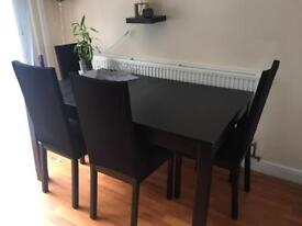 Ikea extendable dining table & 4 chairs