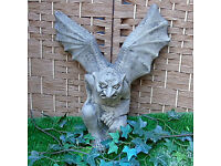 Stone Winged Gargoyle in Reconstituted Limestone - Wall Mounted