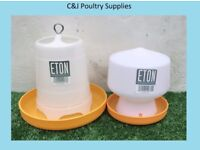 NEW CHICK QUAIL AVIARY STURDY 1.3LITRE ETON DRINKER ORANGE + 1.5KG INDOOR FEEDER