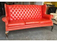 1950s red leather highback Chesterfield sofa WE DELIVER UK WIDE