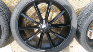 22' rims with tires