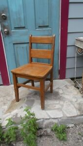 Antique Solid Oak Wood School Chair Vintage Stool More