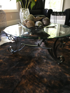 Iron & glass coffee table, hall table and 2 end tables