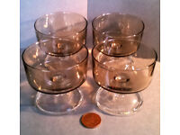 Vintage Luminarc France Smoked Glass Dessert