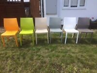 Six Stacking Plastic Chairs for Home or Restaurant - Various colours