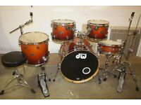 "PDP Pacific (DW) FX Series Tobacco Fade 5 Piece Full Drum Kit (22"" Bass) + All Stands + Cymbal Set"