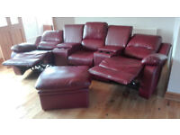 Cinema style leather reclining sofa 3 seater. Excellent condition. Bargain!