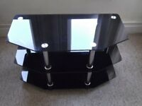 Dark glass and chrome tv/video/dvd display unit