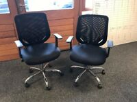 2 mesh backed office chairs, fabric seats, adjustable height, perfect condition