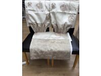 Pair of gold curtains and double duvet cover excellent condition