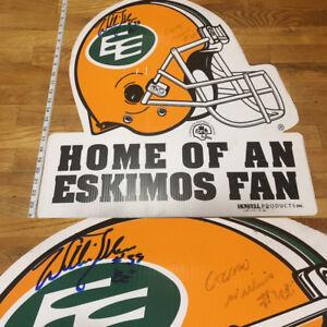 Edmonton Eskimos 2'x2' Helmet Hard Poster signed - Pless + Gizmo