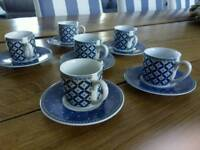 Set of 6 espresso or small coffee cups and saucers