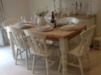 Lovely chunky farmhouse style solid pine dining table & 6 chairs finished in Farrow & Ball