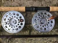 Salmon fly rod , reel and spare spool