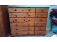 Solid pine chest of drawers very good condition W117cm D38.5cm H96cm, 12 drawers