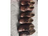 3 pairs of boys brown brogues