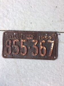 1959 Ontario License Plate