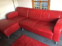 Red leather l shape sofa and chaise