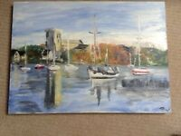 oil painting of Christchurch priory & harbour on canvas by local artist