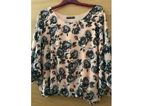Floral blouse 3/4 sleeve size 8