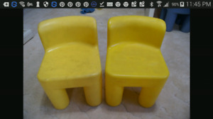 Little tikes yellow kid chairs
