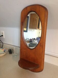 """Hand Crafted Mirror With Candle/Plant Shelf. 22"""" x 9.75"""""""