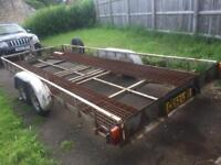 Tiltbed transporter trailer with remote electric winch