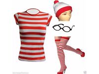 WHERES WALLY FANCY DRESS ACCESSORY PACK SIZE 8/10 GREAT FOR PARTY OR HEN DO