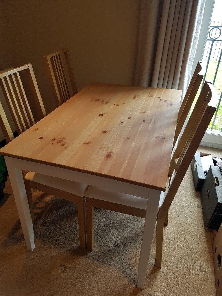Ikea lerhamn table in white oak and 4 borje white oak chairs in newport gumtree - Oak dining chairs ikea ...