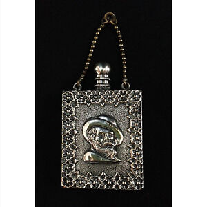 Antique silver-plate chatelaine perfume bottle