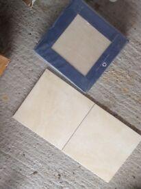 Bathroom wall and floor tiles. Cream