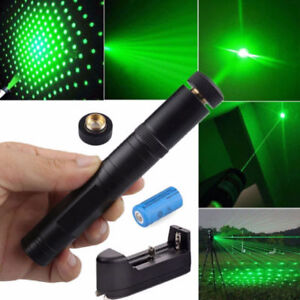 Powerful Military Green Laser Pointer Pen Visible Beam Star Cap