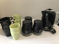 Kettle ,Glass Canisters & Mugs