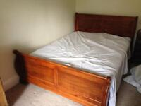 King size wooden quality sleigh bed like new