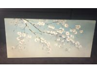 Duck Egg Oriental Blossom Canvas