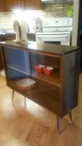 Mid Century China Cabinet with  Glass Sliding Doors