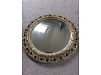 Gold antique vintage fish eye convex circle mirror