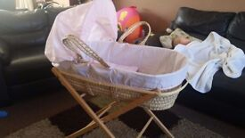 baby girls mosses basket and 2 stands