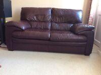 2Seater Maroon Leather Sofa