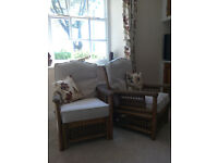 Pair of cane conservatory chairs in excellent condition - Offers accepted