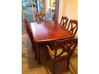 Real wood 6 person extending dining table