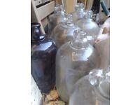 7 Large Glass Wine Bottles