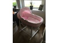 Clair De Lune White Wicker Moses Basket with Pink Waffle Fabric