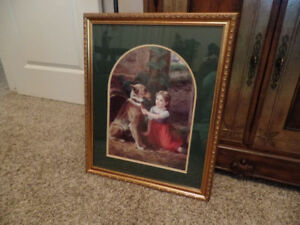 "Nice Victorian Style Framed PRINT ""Little Girl With Her Dog"""