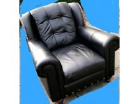 BLACK LEATHER SOFA AND 2 CHAIRS .DELIVERY AVAILABLE