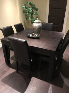 Rustic Solid OAK Dining Table With 6 Leather Parson Chair Set