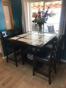 Square Tile Dining Table & 4 Chairs