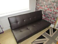 3 Seater Brown faux leather Sofa Bed