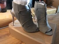 New look for Asos stunning grey lace up suede heels (UK9)