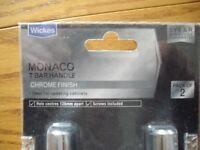 A pack of 2 Wickes Monaco T-bar handles finished in chrome